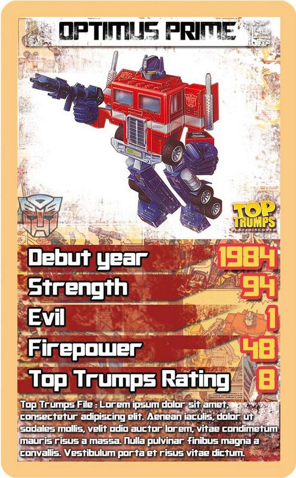 Transformers Top Trumps Optimus Prime