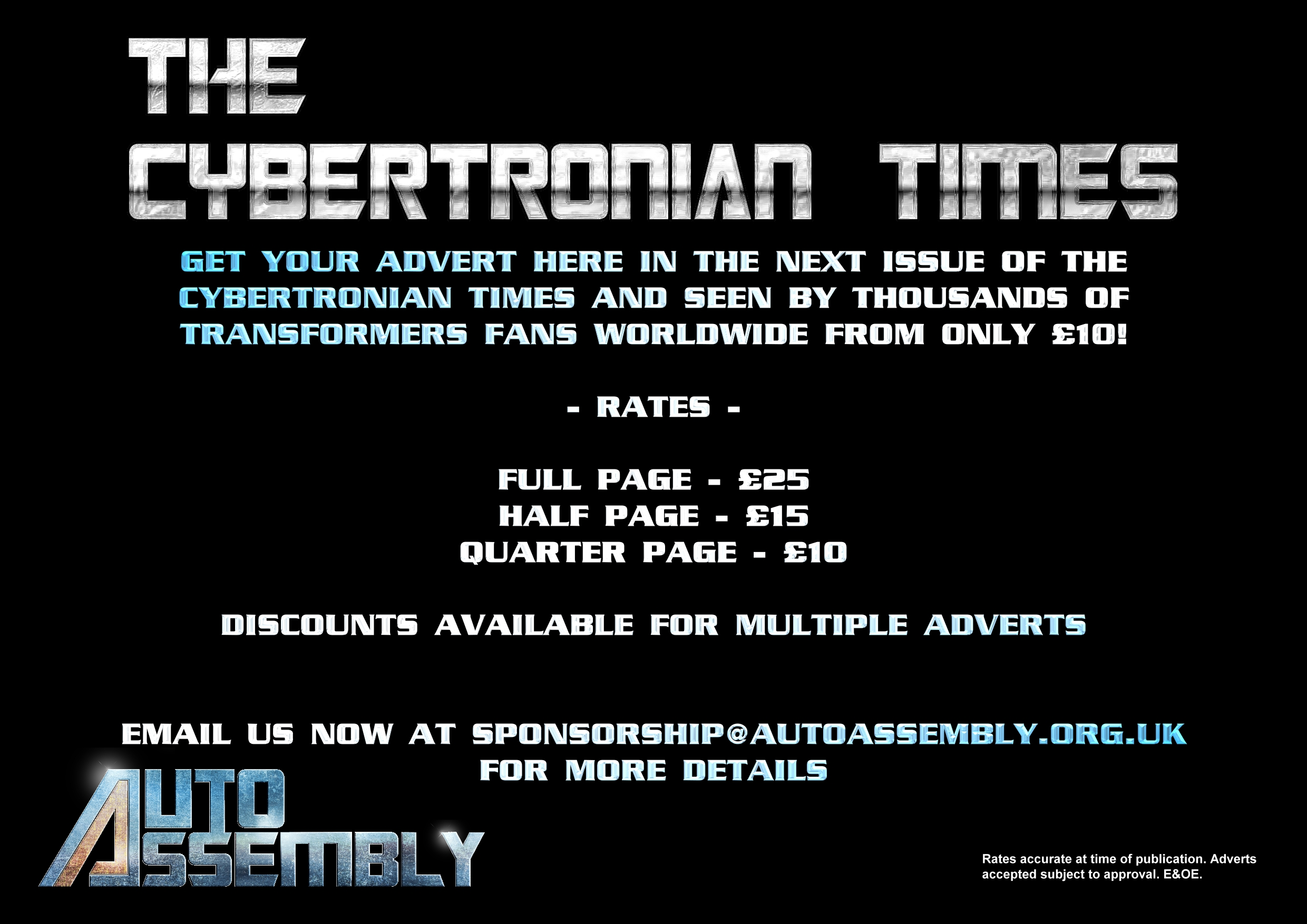 The Cybertronian TImes Advert Rates